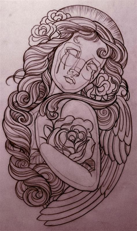 rose and angel tattoos emily murray drawing for ink sleeve