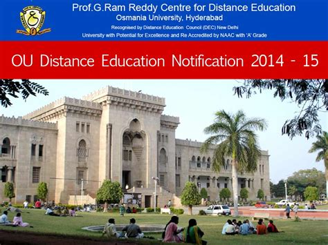 Ou Mba Distance Education by Ou Distance Education Notification 2014 15 Telangana State
