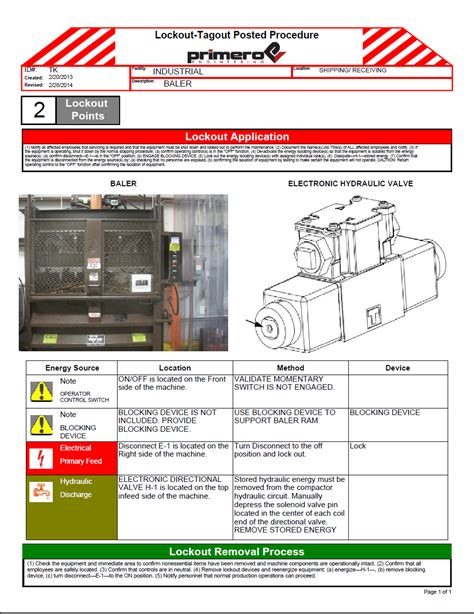 lock out procedures template lockout tagout primero engineering