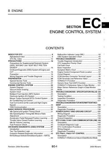 download car manuals pdf free 2004 nissan murano parking system download 2004 nissan murano emission control system section ec pdf manual 668 pages