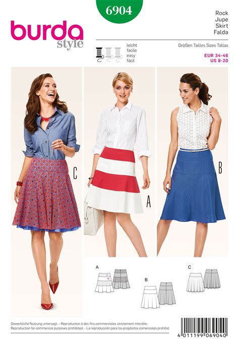 skirt pattern burda 6904 burda pattern misses skirts