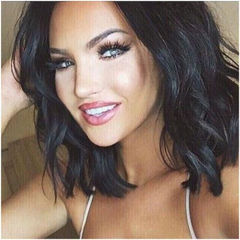 short haircuts with black hair color love this length kiss makeup pinterest bobs
