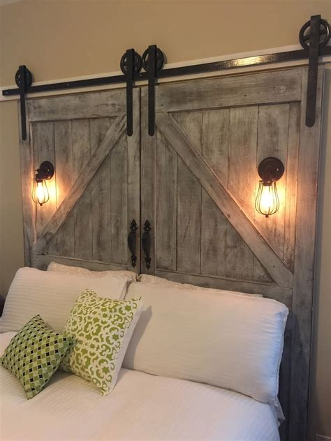 Diy Barn Door Headboard Clear Lacquer Iron Wood Bed Brown Diy Barn Door Headboard
