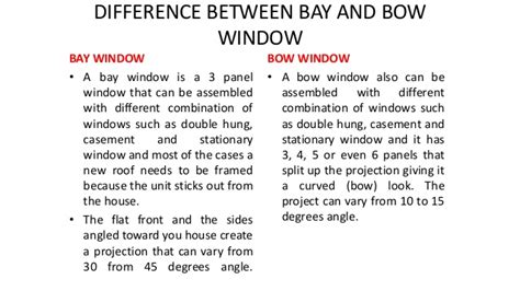 difference between bay and bow windows types of window