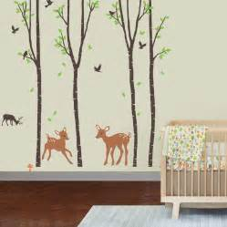 Giant wall sticker decals birch tree forest with deers and flying
