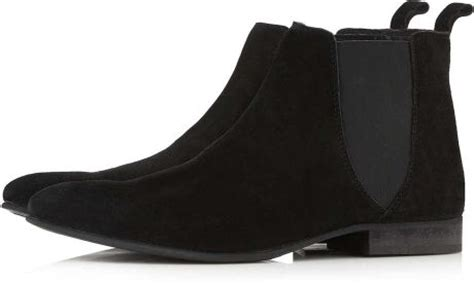 topman black suede chelsea boots in black for lyst