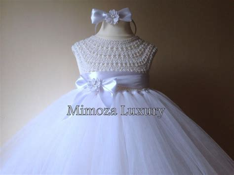 White Flower Crochet Dress white flower dress tutu dress bridesmaid dress