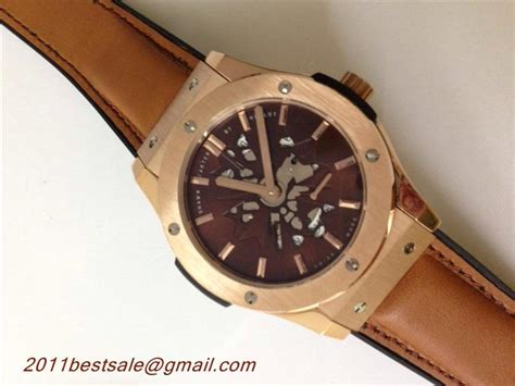 Hublot Classic Rosegold Brown Leather top quality replica watches hublot classic fusion shawn brown gold with