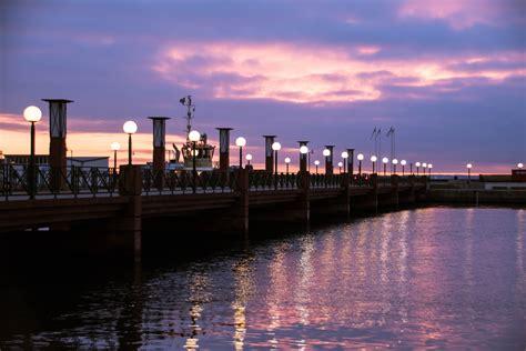 wallpaper sunset sea city cityscape night
