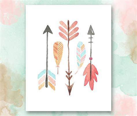 chic printable wall art arrows and feathers printable boho chic nursery wall art