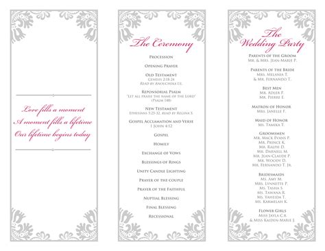 tri fold wedding program template tri fold wedding program templates images