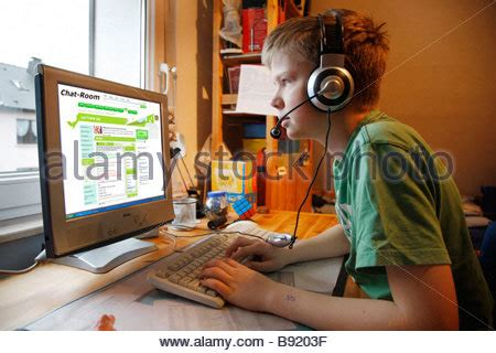 chat rooms for 13 a boy 13 years is chatting in his child room and
