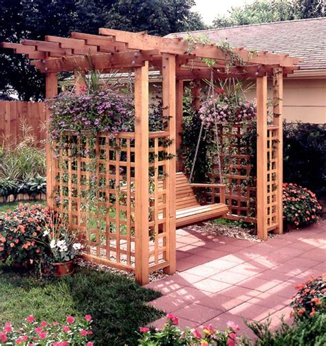 wood trellis plans garden arbor getaway woodworking plan from wood magazine
