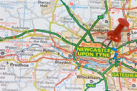 leaflet design newcastle upon tyne road map to newcastle upon tyne stock photo 51977205
