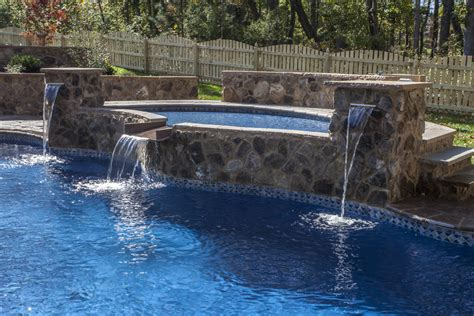 inground pool waterfalls richmond water feature photos mechanicsville pool design