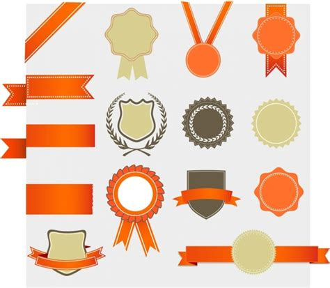 certificate design elements vector free gold award ribbon vector free vector download 6 431