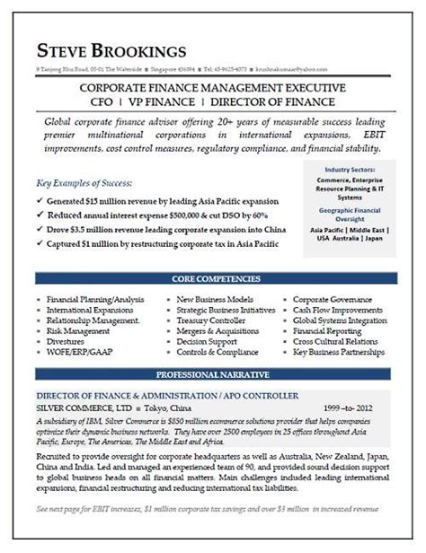 director of finance resume exles pin by eliz on resume sles