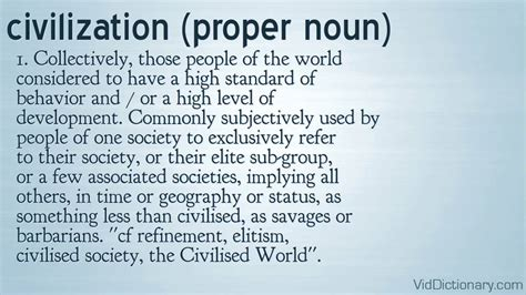 the meaning of civilization definition