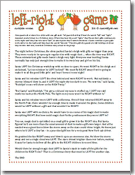 left right across gift exchange story printable themed ideas