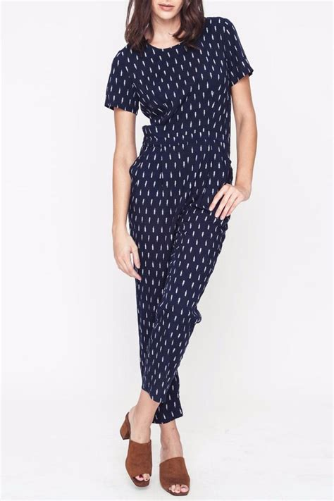 Jumpsuit Rayon Motif Murah mo vint patterned navy jumpsuit from baltimore by