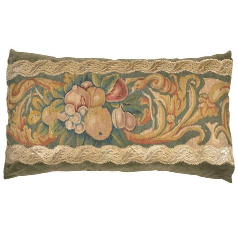 Antique Tapestry Pillows by 17th C Bountiful Fruit Antique Tapestry Large Lumbar