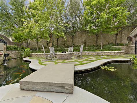 english tudor  sunken garden koi pond  hgtv