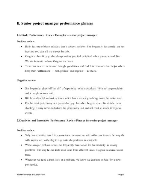 Senior Project Manager Performance Appraisal Senior Management Appraisal Template