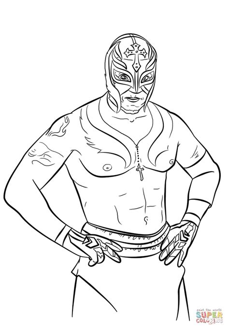 printable wwe coloring pages rey mysterio u with wwe