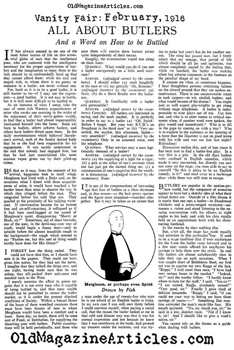 Vanity Fair Articles by History O Butlers Butler Article 1920s Domestic