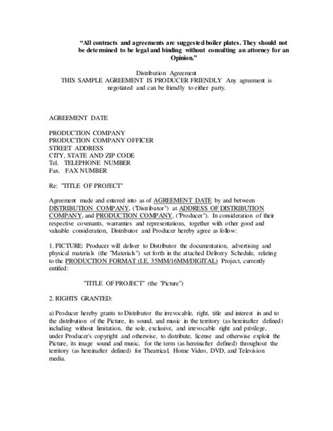 Letter Of Distribution Agreement Distribution Letter