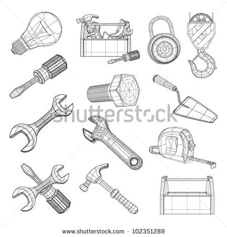 draw tool design drawing tools set vector 102351289