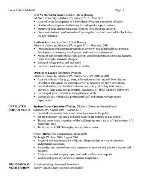 peer mentor resume resume ideas