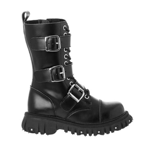 black leather 3 buckle combat boots tuk shoes