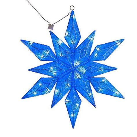 Lighted Snowflakes Outdoor 36 Quot Lighted Pre Lit Led Hanging Snowflake Outdoor Decor Blue Or White