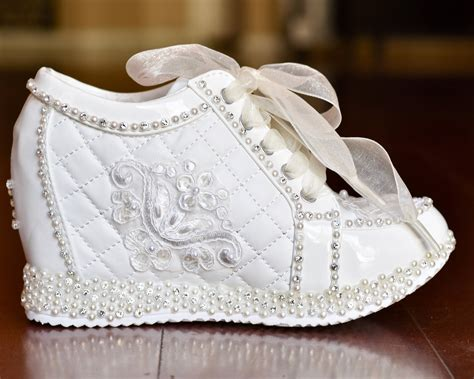 wedding shoes white or light ivory wedge sneakers bridal
