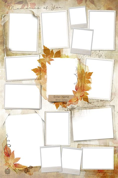 Memorial Photo Collage Design Template Fall Funeral Photo Collage Template