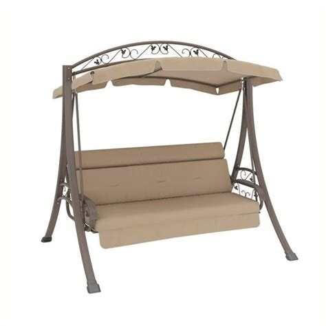 swing row pemberly row patio swing with arched canopy in beige pr