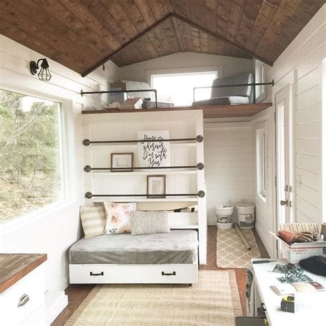 how to decorate a small house with no money tiny house loft with bedroom guest bed storage and shelving tiny home pinterest tiny