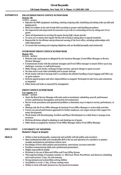 front office supervisor resume exle front office supervisor resume sles velvet