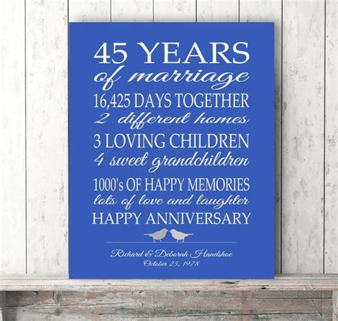 45th anniversary gift parents sapphire blue personalized etsy