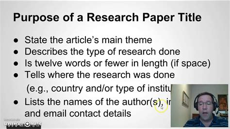 Research Paper Sle Titles by Writing A Title For Your Research Paper