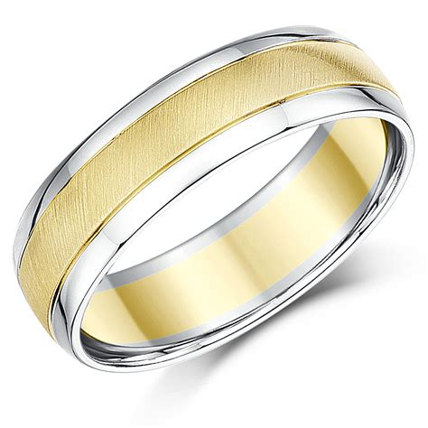 6mm two colour 9ct yellow white gold wedding ring band