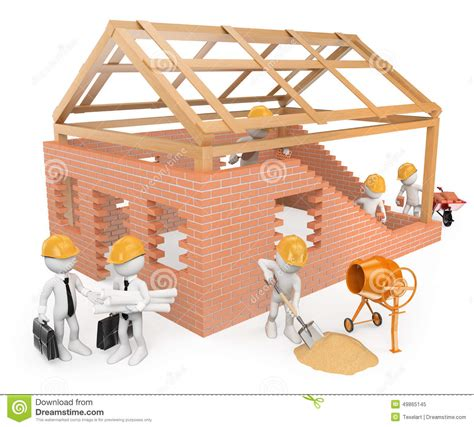 build a house free 3d white construction workers building a house stock illustration image 49865145