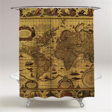 map shower curtain antique world map bathroom shower curtain creativgoods