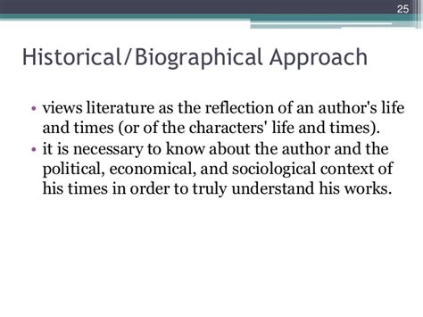 biographical approach definition unit 1 introduction to literary theory criticism