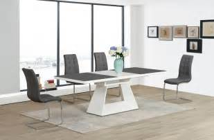 Glass Extending Dining Table And Chairs Grey White Extending High Gloss Glass Dining Table And 6 Chairs