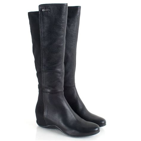 dkny black s flat knee boot