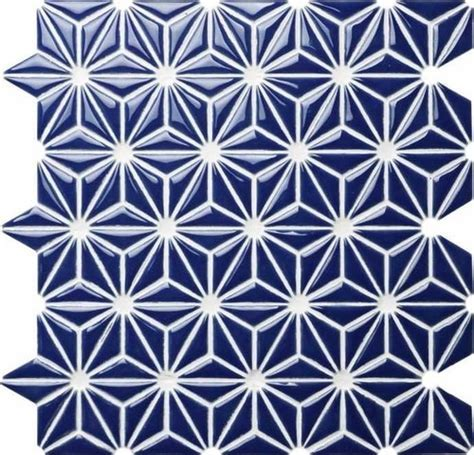 Ceramic Mosaic Tile Flower Navy Blue   Mineral Tiles