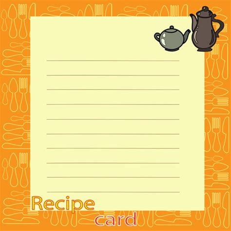 Recipe Card Template Free Vector by Recipe Card With Tableware Pattern Vector 06 Vector Card