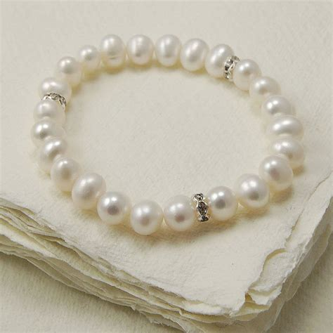 stretch pearl bracelet with diamante detail by highland